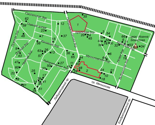 Адрес Богословского кладбища в Санкт-Петербурге